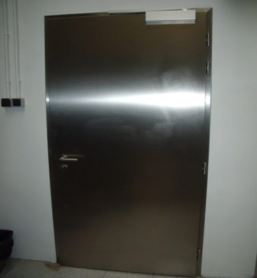 STAINLESS STEEL EI-90 FIRE RATED HEALTCARE / CLEANROOM DOOR